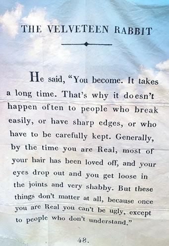 Velveteen Rabbit wisdom